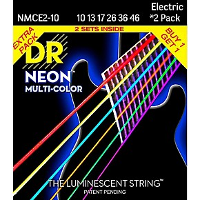 dr strings hi def neon multi color medium electric guitar strings 10 46 2 pack guitar center. Black Bedroom Furniture Sets. Home Design Ideas