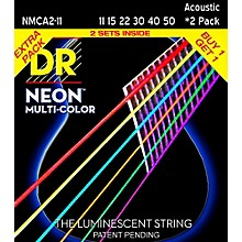 DR Strings Hi-Def NEON Multi-Color Medium Light Acoustic Guitar Strings (11-50) 2 Pack