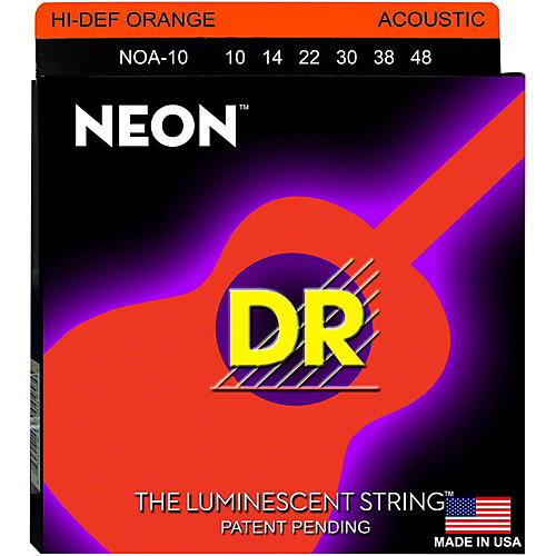DR Strings Hi-Def NEON Orange Coated Acoustic Guitar Strings Lite (10-48)-thumbnail