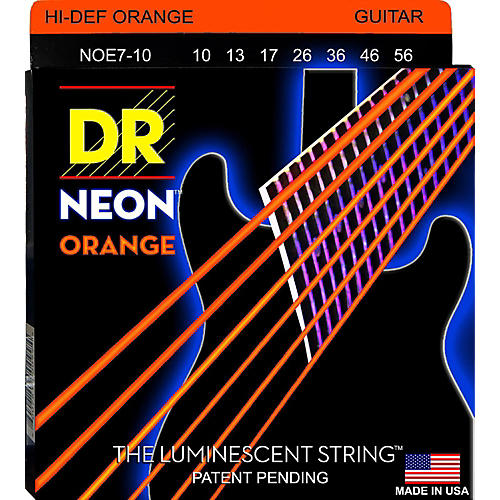 DR Strings Hi-Def NEON Orange Coated Medium 7-String Electric Guitar Strings (10-56)