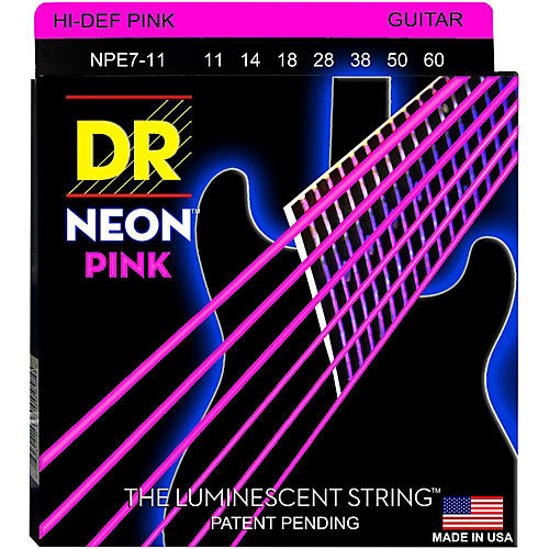 DR Strings Hi-Def NEON Pink Coated Heavy 7-String Electric Guitar Strings (11-60)-thumbnail