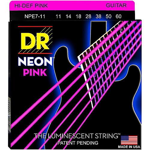 DR Strings Hi-Def NEON Pink Coated Heavy 7-String Electric Guitar Strings (11-60)