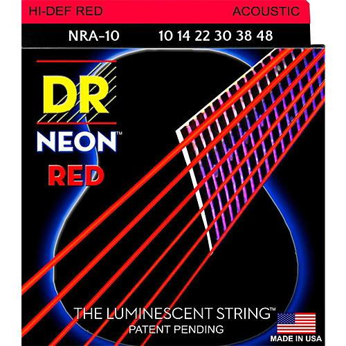 DR Strings Hi-Def NEON Red Coated Lite Acoustic Guitar Strings (10-48)
