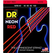 DR Strings Hi-Def NEON Red Coated Lite Bass Strings (40-100)