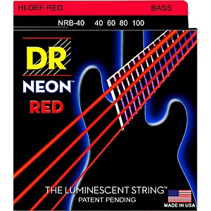 DR Strings Hi-Def NEON Red Coated Lite Bass Strings 40-100