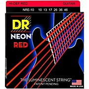 DR Strings Hi-Def NEON Red Coated Medium (10-46) Electric Guitar Strings