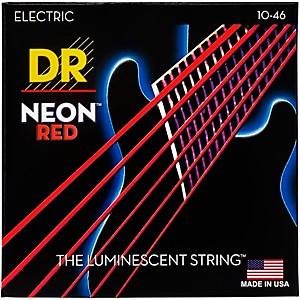 DR Strings Hi-Def NEON Red Coated Medium 10-46 Electric Guitar Strings by DR Strings