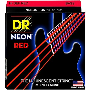 DR Strings Hi-Def NEON Red Coated Medium 4 String 45-105 Bass Guitar Stri... by DR Strings