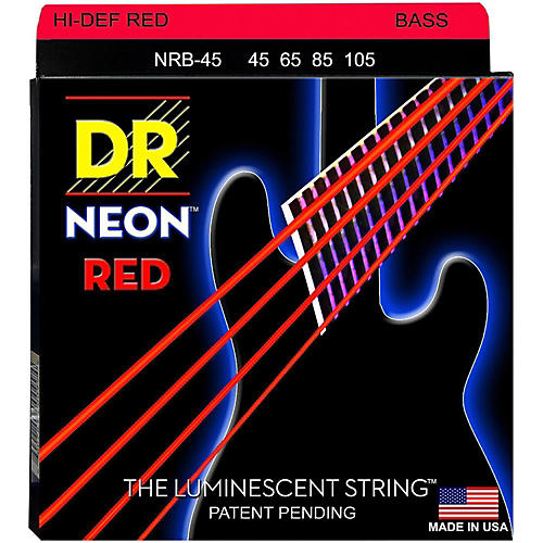 DR Strings Hi-Def NEON Red Coated Medium 4-String (45-105) Bass Guitar Strings-thumbnail