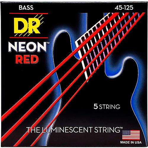 DR Strings Hi-Def NEON Red Coated Medium 5-String (45-125) Bass Guitar Strings-thumbnail