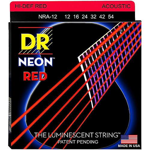 DR Strings Hi-Def NEON Red Coated Medium Acoustic Guitar Strings (12-54)-thumbnail