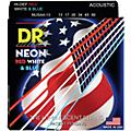 DR Strings Hi-Def NEON Red, White & Blue Acoustic Guitar Medium-Heavy Strings thumbnail