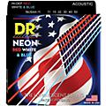 DR Strings Hi-Def NEON Red, White & Blue Acoustic Guitar Medium-Lite Strings-thumbnail