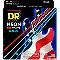 DR Strings Hi-Def NEON Red, White & Blue Electric Bass 4-String Bass Strings (45-105) Thumbnail