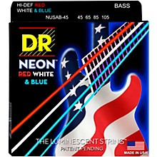 DR Strings Hi-Def NEON Red, White & Blue Electric Bass 4-String Bass Strings