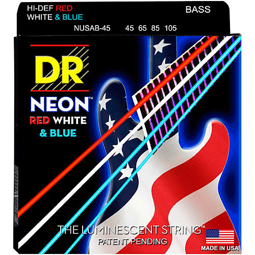 DR Strings Hi-Def NEON Red, White & Blue Electric Bass 4-String Bass Strings-thumbnail