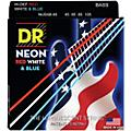 DR Strings Hi-Def NEON Red, White & Blue Electric Lite 4-String Bass Strings (40-100) Thumbnail