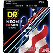 DR Strings Hi-Def NEON Red, White & Blue Electric Lite 4-String Bass Strings