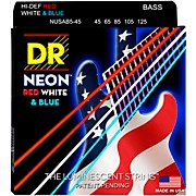 DR Strings Hi-Def NEON Red, White & Blue Electric Medium 5-String Bass Strings