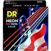 Hi-Def NEON Red, White & Blue Electric Medium 5-String Bass Strings