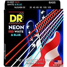 DR Strings Hi-Def NEON Red, White & Blue Electric Medium 6-String Bass Strings