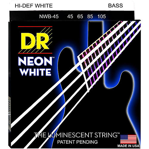 DR Strings Hi-Def NEON White Coated Medium 5-String Bass Strings