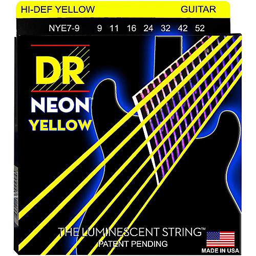 DR Strings Hi-Def NEON Yellow Coated Lite 7-String Electric Guitar Strings (9-52)-thumbnail