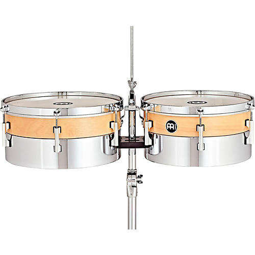 Meinl Hybrid Timbales with Height Adjustable Tripod Stand and Cowbell Holder