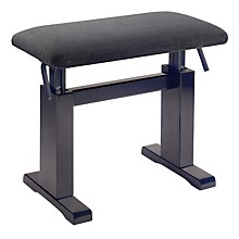 Musician's Gear Hydraulic Lift Piano Bench Level 1 Black Velvet Top Rosewood Matt Finish