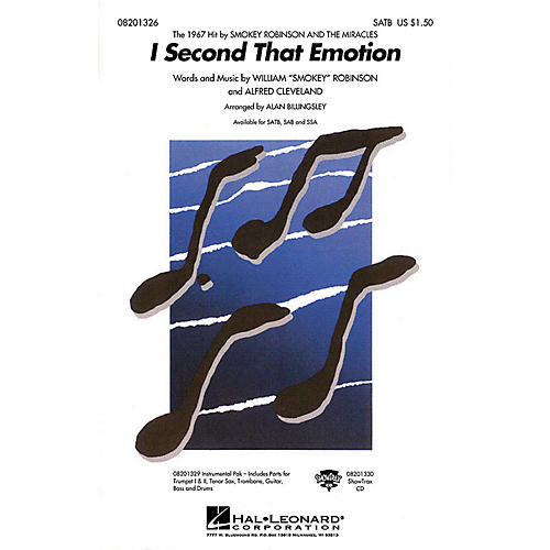 Hal Leonard I Second That Emotion SATB by The Miracles arranged by Alan Billingsley