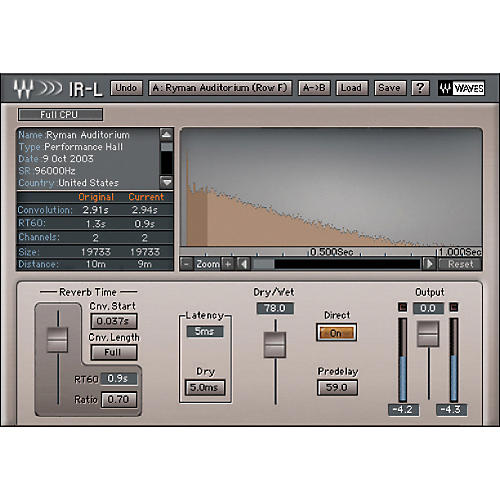 Waves IR1 Convolution Reverb Native/TDM/SG-thumbnail
