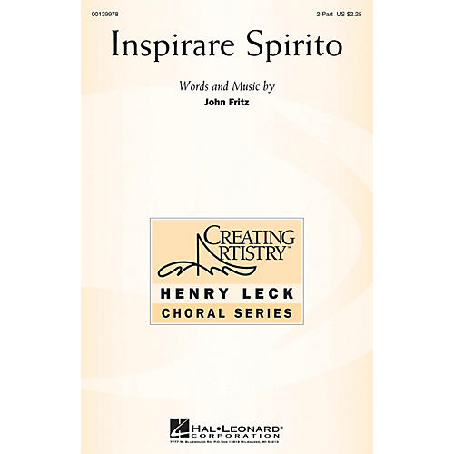 Hal Leonard Inspirare Spirito 2-Part composed by John Fritz