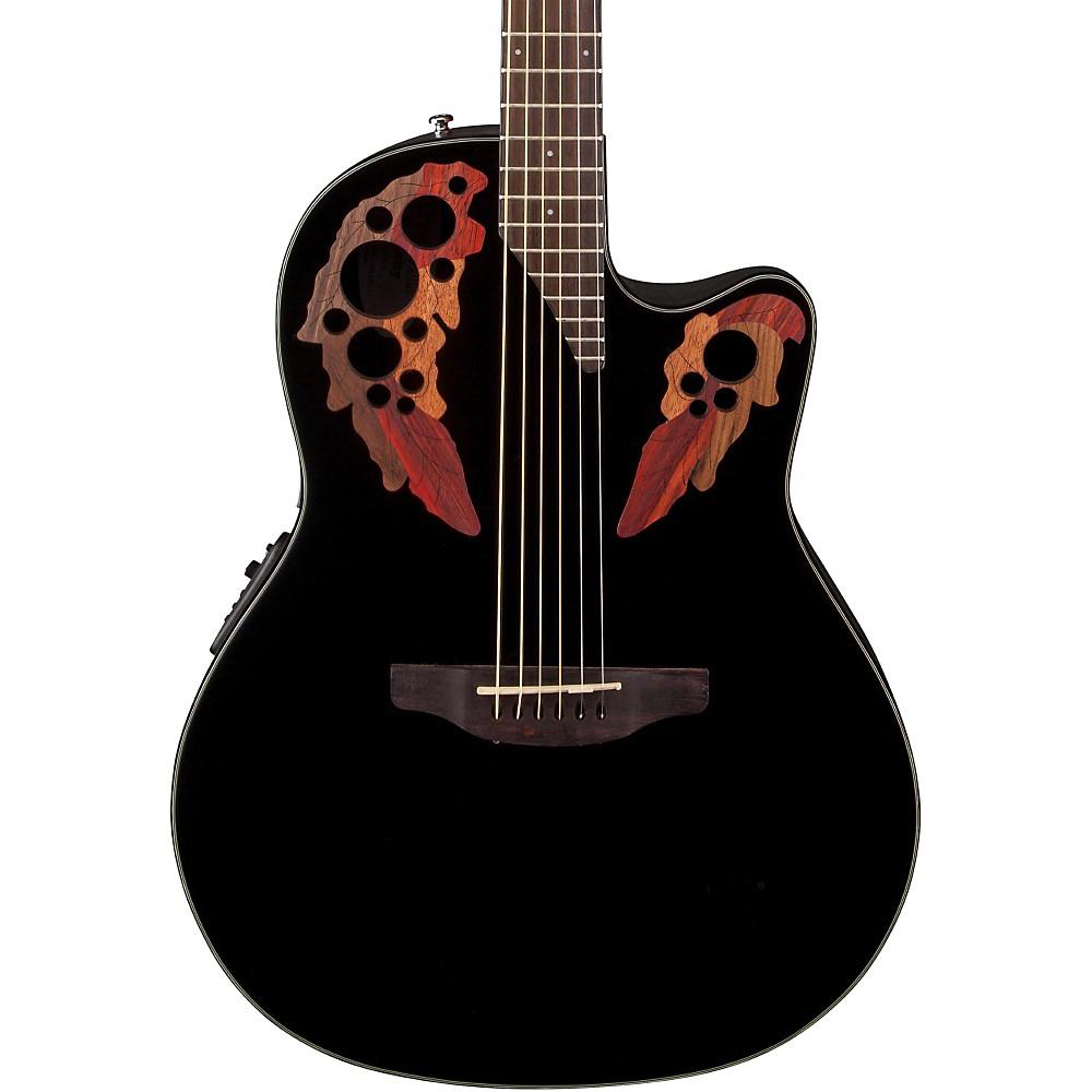 Ovation Celebrity Elite Acoustic-Electric Guitar Black 1386001294609