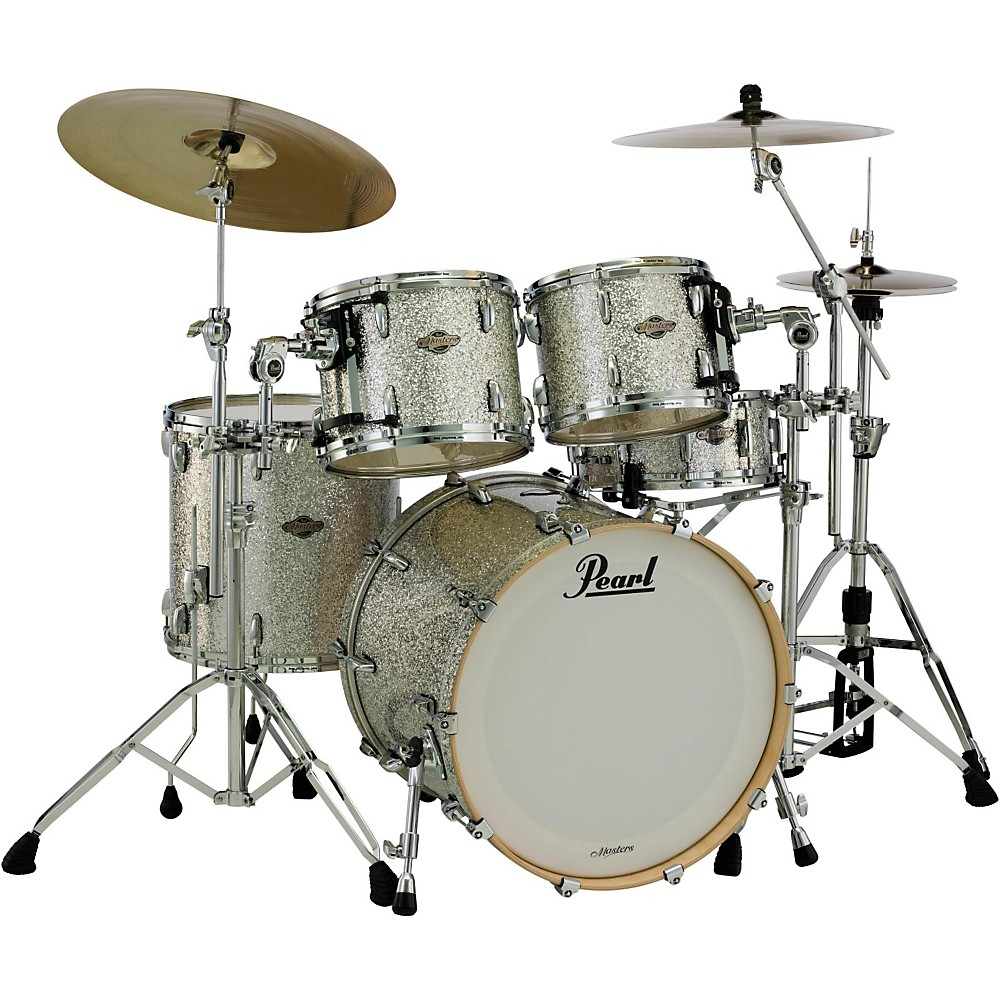 """Pearl Masters Bcx924xp Birch 4-Piece Shell Pack With 22"""""""" Bass Drum Silver Glitter"""" 1394464447758"""