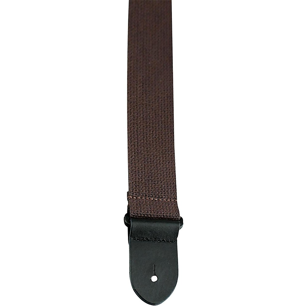 Perri's 2 In. Cotton Guitar Strap With Leather Ends Brown 1397485969566