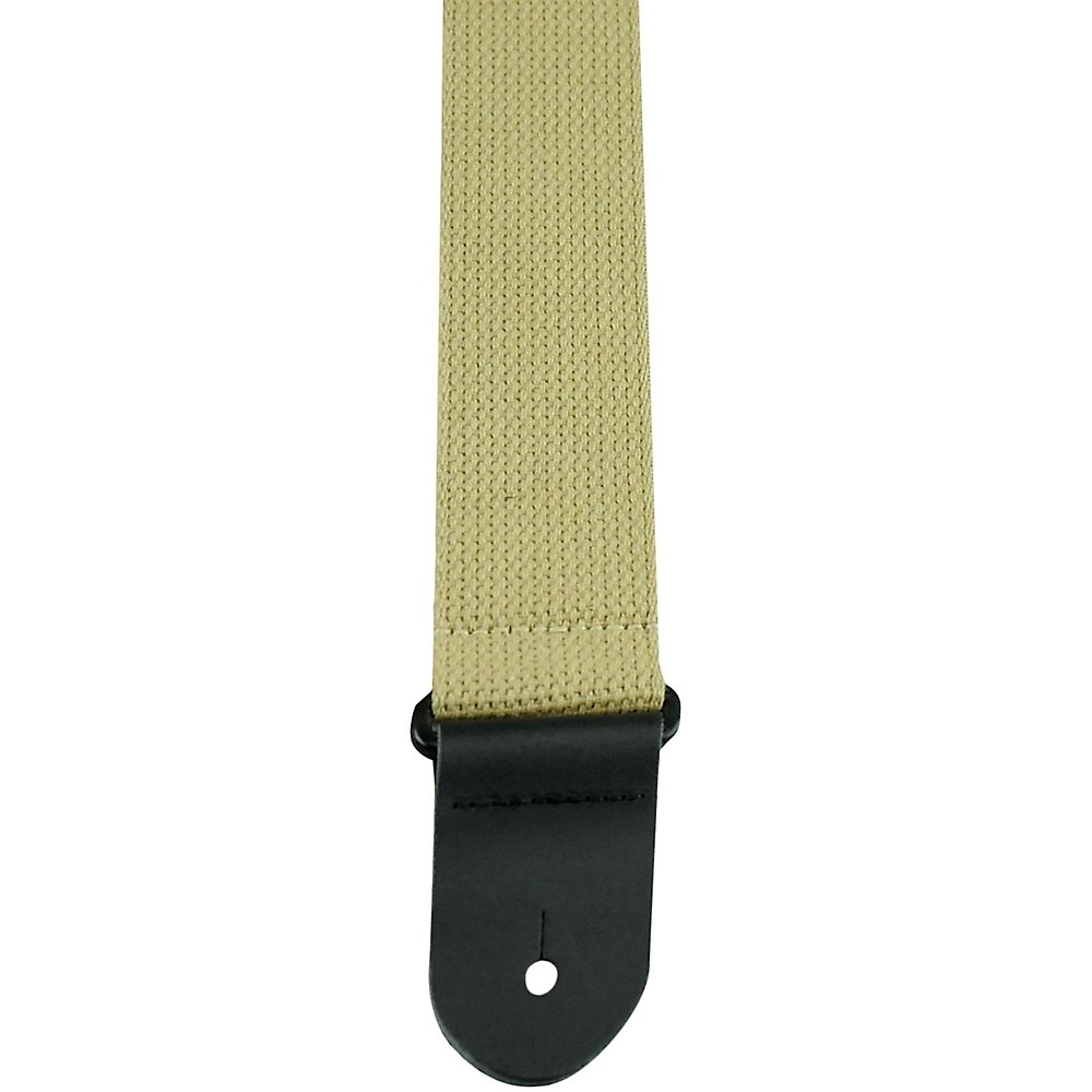 """Perri's 2"""""""" Cotton Guitar Strap with Leather Ends Tan"""" 1397485969476"""