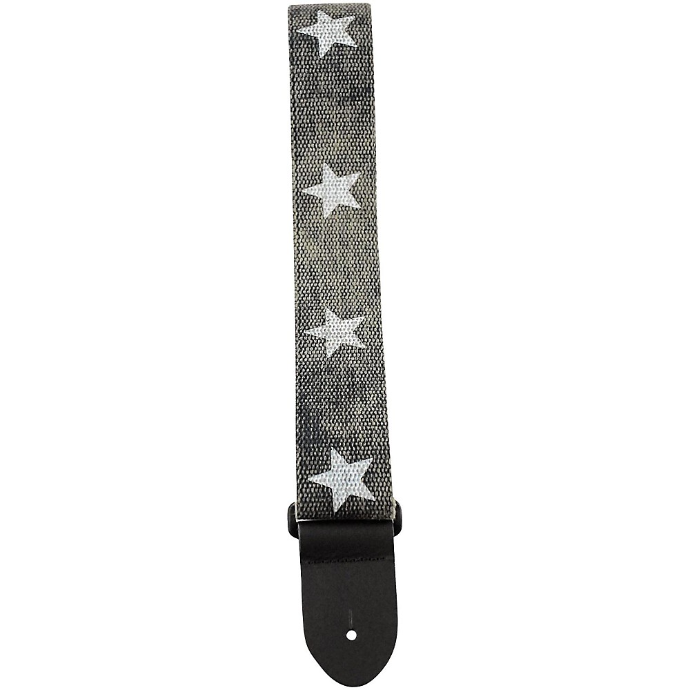 Perri's 2 In. Cotton Guitar Strap With Leather Ends Printed Stars 2 In. 1500000004791