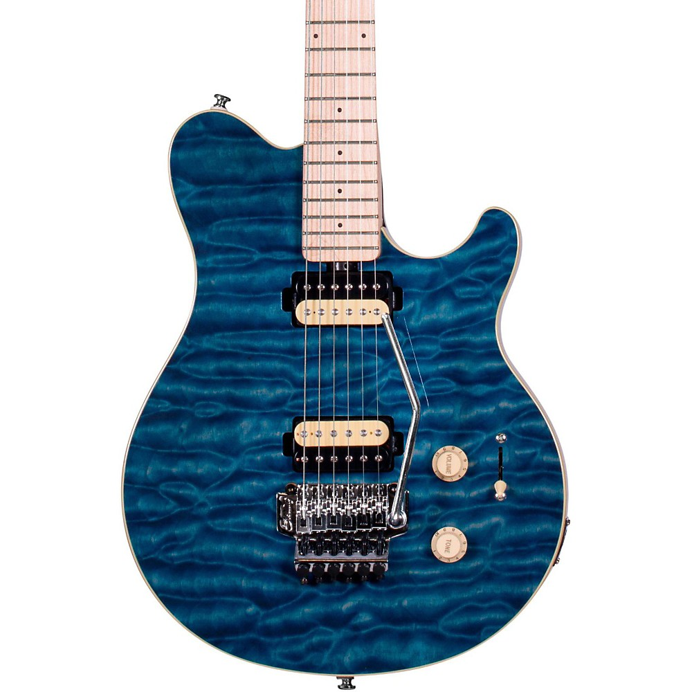 Sterling By Music Man Ax4 Sub Series Flame Grain Image Electric Guitar Transparent Blue 1412606562584