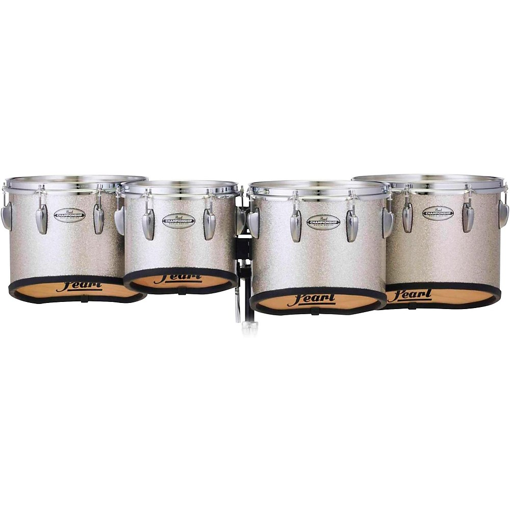 Pearl Championship Maple Marching Tenor Drums Quad Sonic Cut 10, 12, 13, 14 In. Silver Sparkle #360 1438614486779