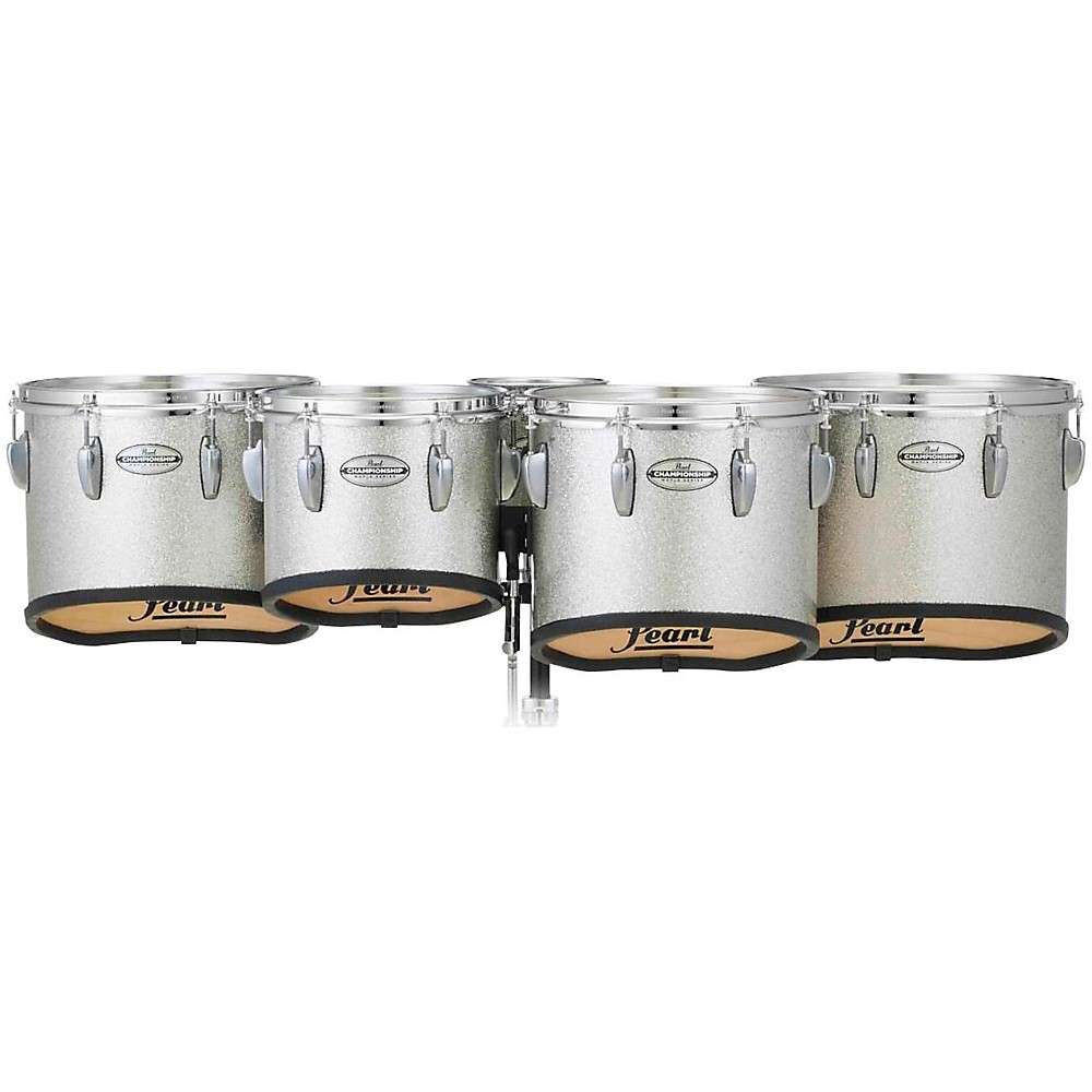Pearl Championship Maple Marching Tenor Drums Quint Sonic Cut 6, 10, 12, 13, 14 in. Silver Sparkle #360 1439393388863