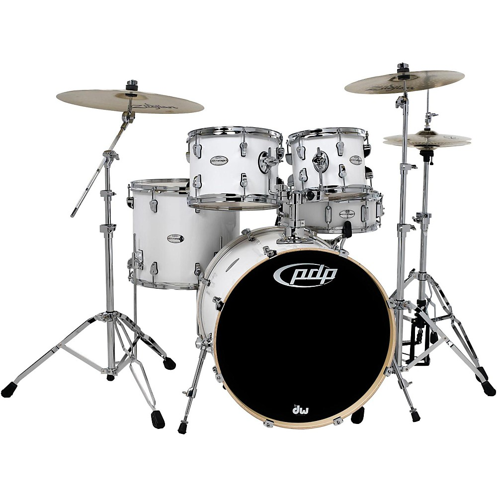 Pdp Mainstage 5-Piece Drum Set With Zildjian Cymbals Gloss White 1439818604524