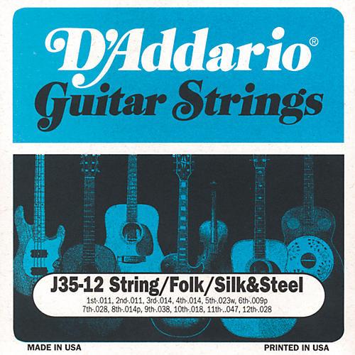 D'Addario J35 12-String Folk Silk and Steel Acoustic Guitar Strings-thumbnail