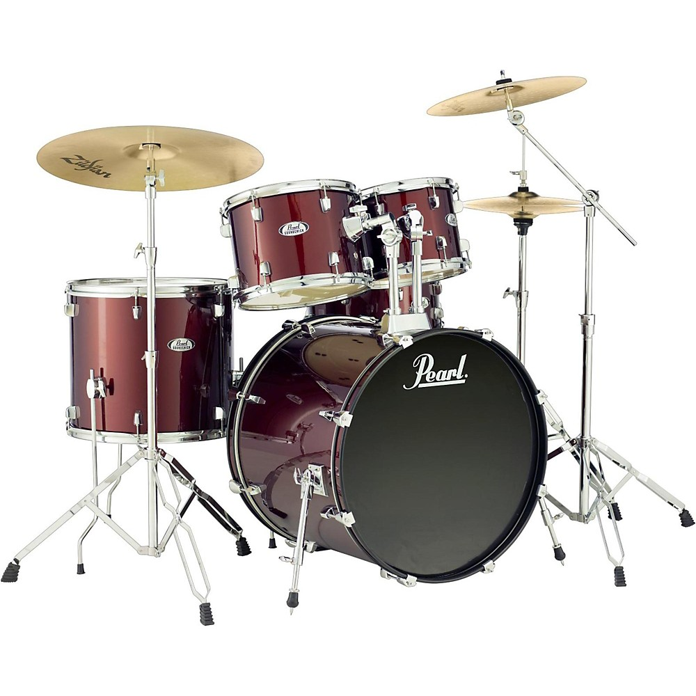 Pearl Soundcheck Complete 5-Pc. Drum Set With Hardware And Zildjian Planet Z Cymbals Wine Red 1500000034145