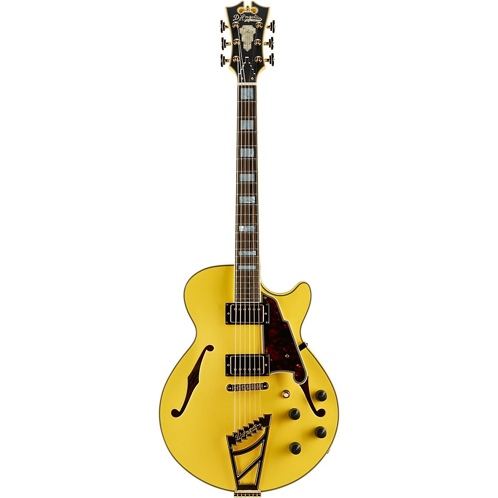 D'angelico Deluxe Series Limited Edition Ss Semi-Hollow Electric Guitar With Custom Seymour Duncan Pickups And Stairstep Tailpiece Electric Yellow Tortoise Pickguard 1500000137338