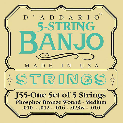 D'Addario J55 Phosphor Bronze Medium Banjo Strings-thumbnail