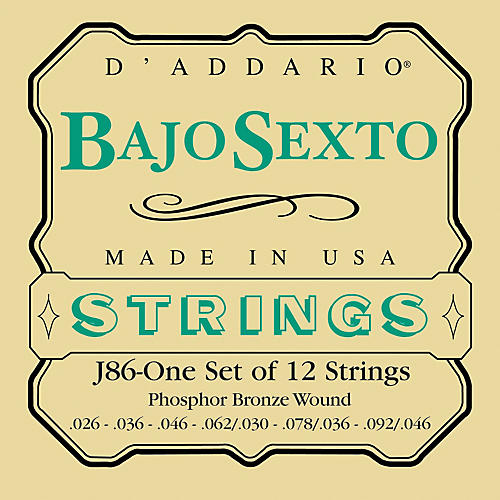 D'Addario J86 Phosphor Bronze Bajo Sexto 12-String Set