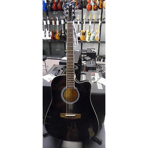 Jay Turser JJ45FCE Acoustic Electric Guitar Trans Black