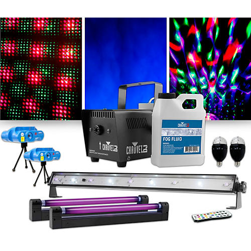 CHAUVET DJ Jam Pack Emerald with Double VEI Mini Lasers, Party Bulbs and Blacklights Lighting Package