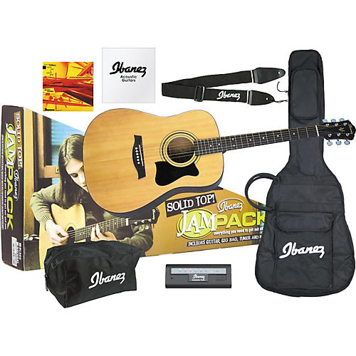 Ibanez JamPack Solid-Top Acoustic Guitar Pack High Gloss Natural