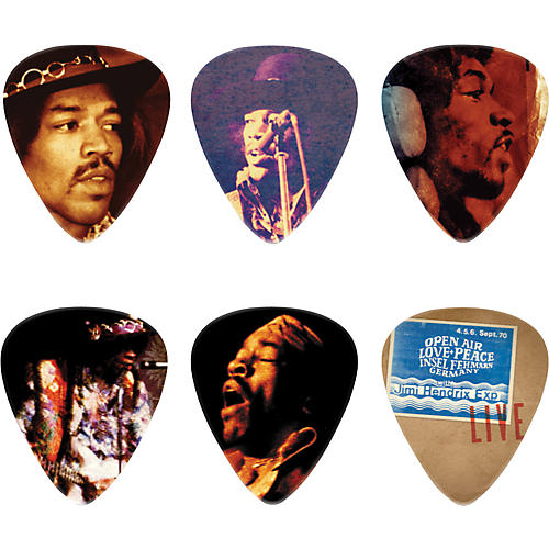 dunlop jimi hendrix hear my music pick tin with 6 medium picks guitar center. Black Bedroom Furniture Sets. Home Design Ideas